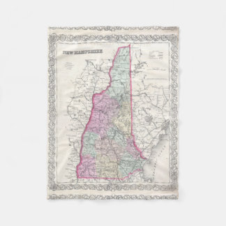 Vintage Map of New Hampshire (1855) Fleece Blanket
