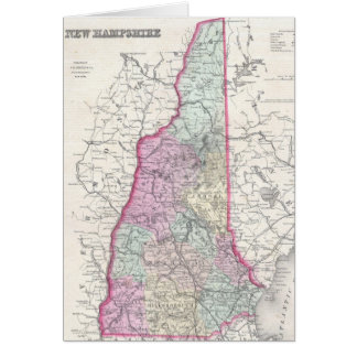 Vintage Map of New Hampshire (1855) Greeting Card