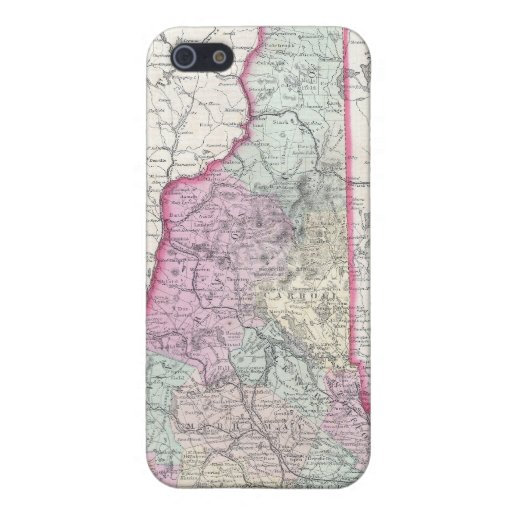 Vintage Map of New Hampshire (1855) iPhone 5 Covers