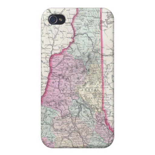Vintage Map of New Hampshire (1855) iPhone 4 Covers