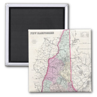 Vintage Map of New Hampshire (1855) Square Magnet