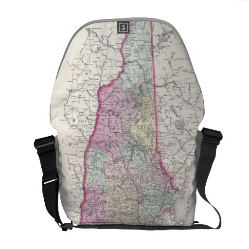 Vintage Map of New Hampshire (1855) Courier Bag