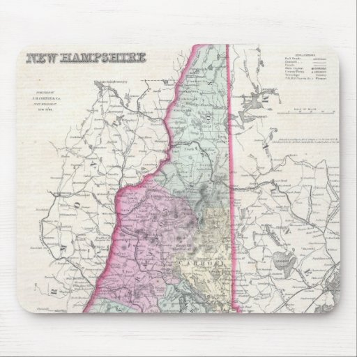 Vintage Map of New Hampshire (1855) Mousepads