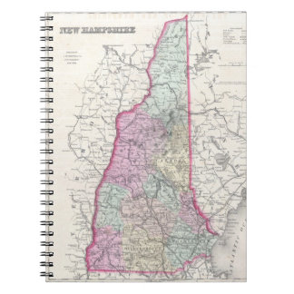 Vintage Map of New Hampshire 1855 Note Books