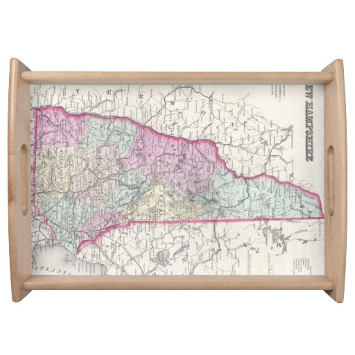 Vintage Map of New Hampshire (1855) Food Trays