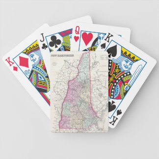 Vintage Map of New Hampshire 1855 Playing Cards