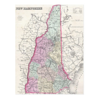 Vintage Map of New Hampshire 1855 Postcards