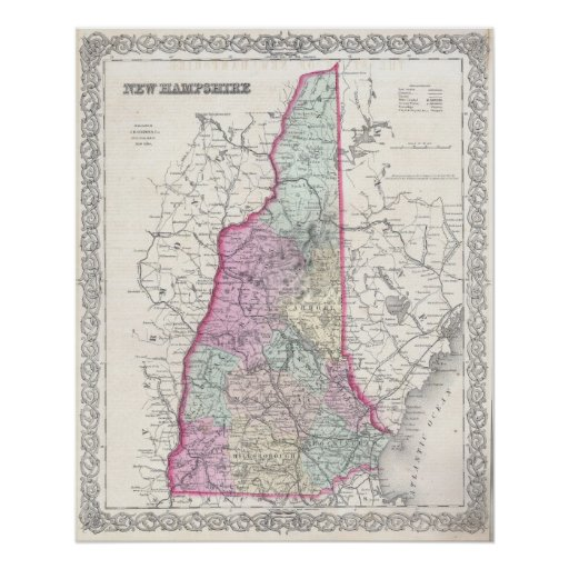 Vintage Map of New Hampshire (1855) Print