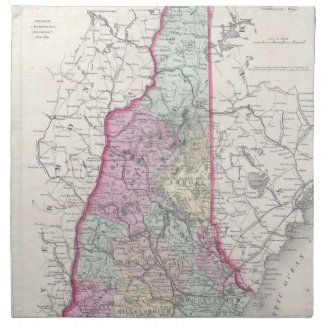 Vintage Map of New Hampshire (1855) Printed Napkin