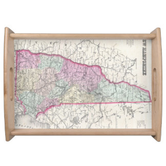 Vintage Map of New Hampshire (1855) Service Tray