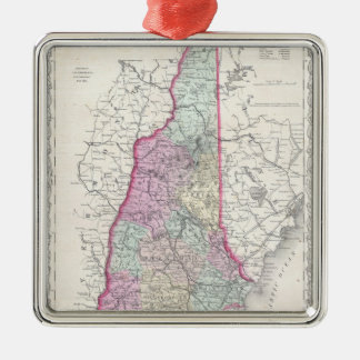 Vintage Map of New Hampshire (1855) Silver-Colored Square Decoration