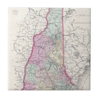 Vintage Map of New Hampshire (1855) Small Square Tile