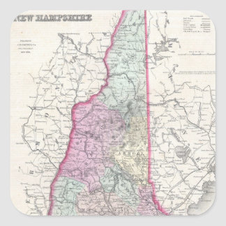 Vintage Map of New Hampshire (1855) Square Sticker