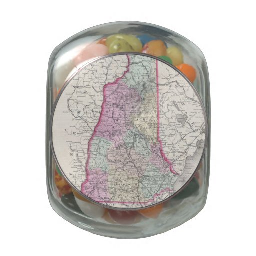Vintage Map of New Hampshire (1855) Jelly Belly Candy Jars
