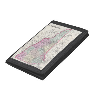 Vintage Map of New Hampshire (1855) Tri-fold Wallets