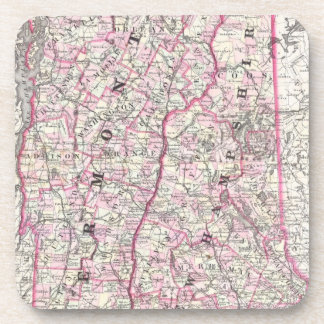 Vintage Map of New Hampshire and Vermont 1861 Beverage Coaster