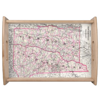 Vintage Map of New Hampshire and Vermont (1861) Food Trays