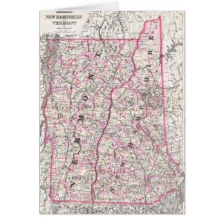Vintage Map of New Hampshire and Vermont (1861) Greeting Card