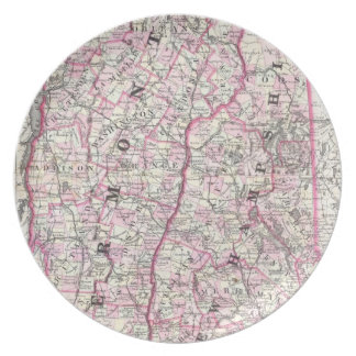 Vintage Map of New Hampshire and Vermont (1861) Party Plates