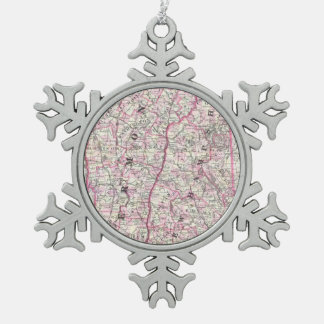 Vintage Map of New Hampshire and Vermont (1861) Pewter Snowflake Decoration