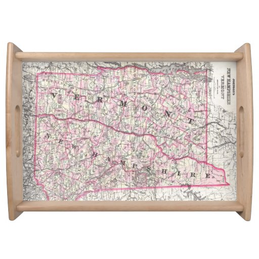 Vintage Map of New Hampshire and Vermont (1861) Service Trays