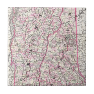Vintage Map of New Hampshire and Vermont (1861) Small Square Tile