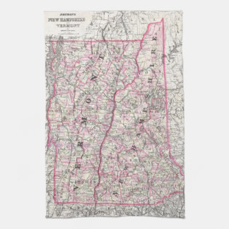 Vintage Map of New Hampshire and Vermont (1861) Tea Towel