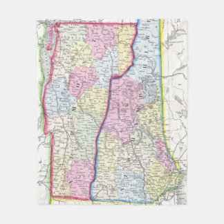 Vintage Map of New Hampshire and Vermont (1862) Fleece Blanket