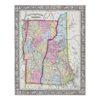 Vintage Map of New Hampshire and Vermont (1862) Poster