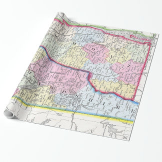 Vintage Map of New Hampshire and Vermont (1862) Wrapping Paper
