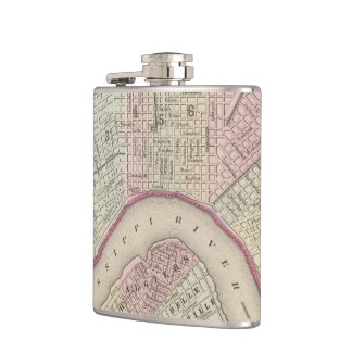 Vintage Map of New Orleans (1880) Hip Flask