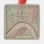 Vintage Map of New Orleans (1880) Silver-Colored Square Decoration