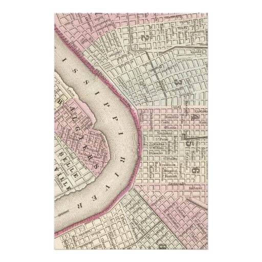 Vintage Map of New Orleans (1880) Customized Stationery
