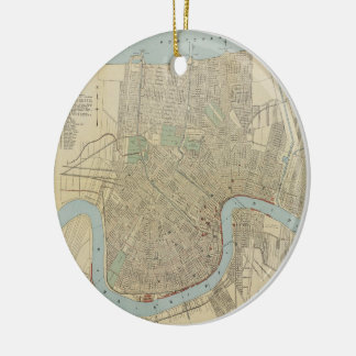 Vintage Map of New Orleans (1919) Christmas Ornament