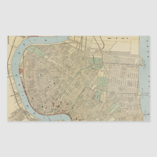 Vintage Map of New Orleans (1919) Rectangular Sticker