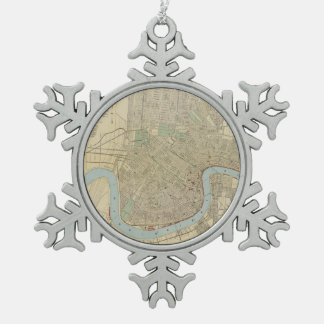 Vintage Map of New Orleans (1919) Snowflake Pewter Christmas Ornament