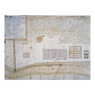 Vintage Map of New Orleans Louisiana (1747) Poster