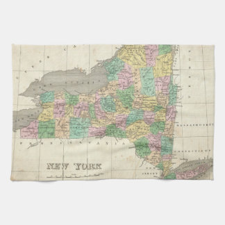 Vintage Map of New York (1827) Tea Towel