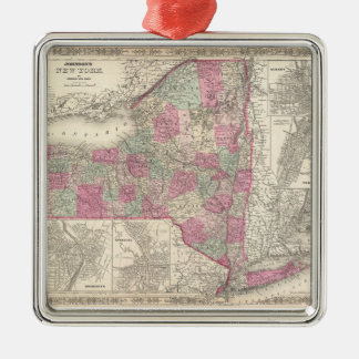 Vintage Map of New York (1864) Silver-Colored Square Decoration