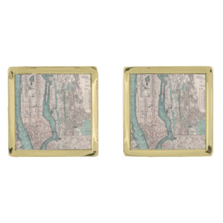 Vintage map of New York (1897) Gold Finish Cufflinks