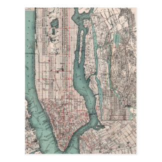 Vintage map of New York (1897) Postcard