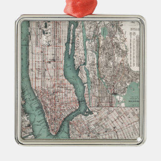 Vintage map of New York (1897) Silver-Colored Square Decoration