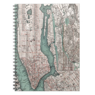 Vintage map of New York (1897) Spiral Notebook