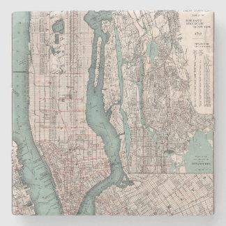 Vintage map of New York (1897) Stone Coaster