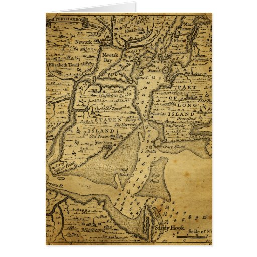 Vintage Map of New York Greeting Cards