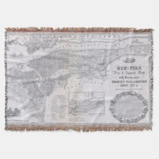 Vintage Map of New York City (1855) Throw Blanket