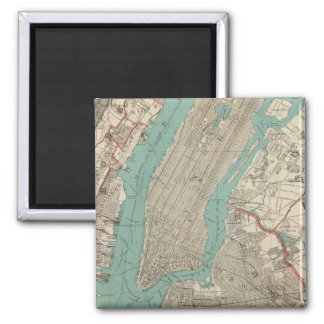 Vintage Map of New York City (1890) Square Magnet