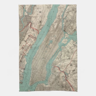 Vintage Map of New York City (1890) Tea Towel