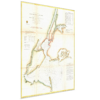 Vintage Map of New York City and NY Harbour (1857) Stretched Canvas Prints