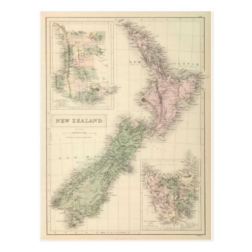 Vintage Map of New Zealand (1854) Post Cards
